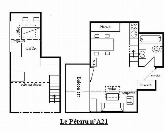R sidence le petaru meribel s jour pas cher - Studio plan met mezzanine ...